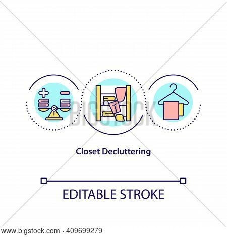 Closet Decluttering Concept Icon. Quickly Sort Into Seperate Piles. Organize Clothes Seasonaly. Clea