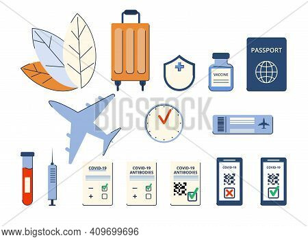 Set Of Elements. New Normal. Safe Travel In A Pandemic. Immunity Passport, Tickets, Permission, Bord