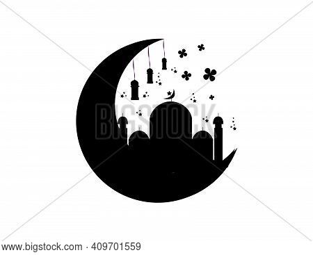 Welcome The Month Of Ramadan. This Vector Has The Concept Of A Moon And Mosque Lit By Lanterns Decor