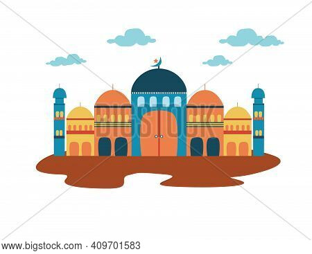 Mosque Where Muslims Worship.cute Mosque Vectors With Cute Pastel Colors Are Suitable As A Complemen