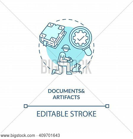 Documents And Artifacts Analysis Concept Icon. Information Of Antique Objects Idea Thin Line Illustr