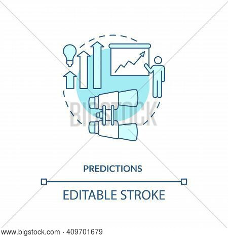 Predictions Concept Icon. Process Of Forecasting Idea Thin Line Illustration. Event Happening In Fut