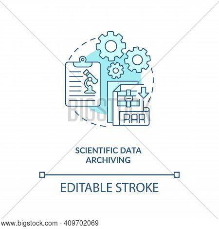 Scientific Data Archiving Concept Icon. Science Information Idea Thin Line Illustration. Testing Hyp