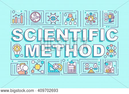 Scientific Method Word Concepts Banner. Discovering New Wisdom. Getting New Knowledge. Infographics