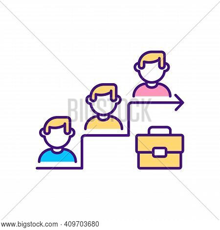 Job Promotion Rgb Color Icon. Getting Better Skills. Organization Workers Oppertunity Path. Getting