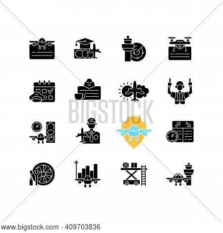 Aviation Black Glyph Icons Set On White Space. Civil Aviation Issues. Flight Attendant License. Pilo