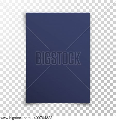 Dark Realistic Blank Paper Page With Shadow Isolated On Transparent Background. Navy-blue Sheet Of P