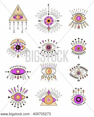 Evil Eye Icon Vector Set. Eye Of Providence And Esoteric Symbols. Magic Signs For Tarot Cards. Witch