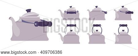 Tea Retro Kettle Set, Teapot In Classic Grey Design. Household Appliance With Lid, Spout, Handle For