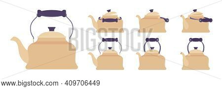 Tea Retro Kettle Set, Teapot In Classic Design. Household Appliance With Lid, Spout, Handle For Boil