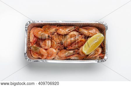 Delicious Delicacies, Fast Delivery Of Seafood And Appetizer For Home. Container Of Tasty Fresh Shri