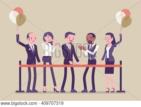 Ribbon Cutting Ceremony For Business People. Diverse Group Of Happy Businessmen And Businesswomen At