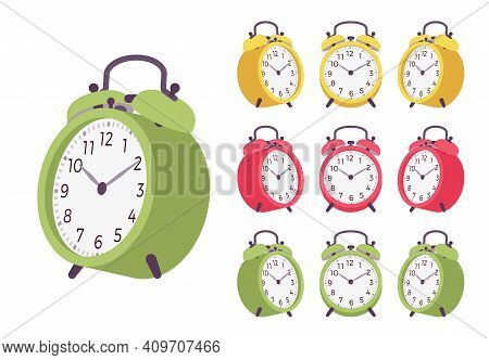 Twin Bell Bright Alarm Clock Set. Red, Green, Yellow Wind Up Mechanical Desk Table Device For Home,
