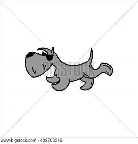Scottish Terrier In Trendy Glasses. Cool Dog. Doodle Icon. Vector Illustration Of A Dog. Editable El