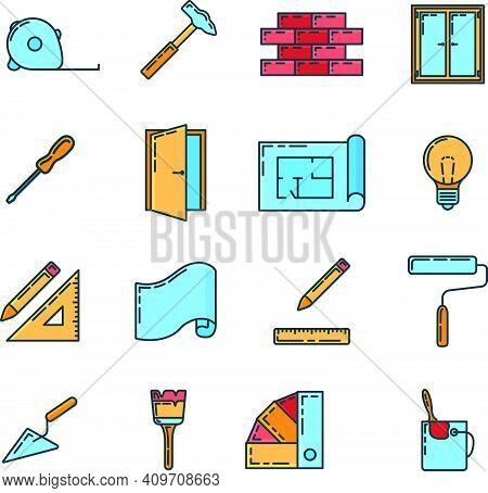 Big Set Of Repair Design House 16 Icon, Concept Renovation Tool Stuff Instrument Toolkit Line Art Fl
