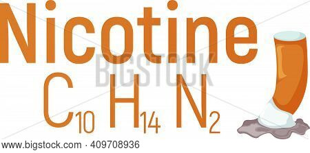 Nicotine Concept Chemical Formula Icon Label, Text Font Vector Illustration, Isolated On White. Peri