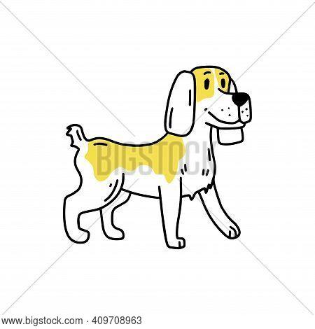 Spaniel Illustration, Setter. Funny Dog. Doodle Icon. Vector Illustration Of A Dog. Editable Element