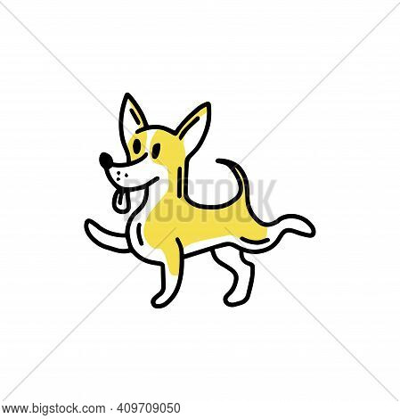 Funny Chihuahua. Little Funny Dog. Doodle Icon. Vector Illustration Of A Dog. Editable Element.