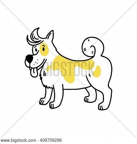 Laika. Nice Dog. Doodle Icon. Vector Illustration Of A Dog. Editable Element.