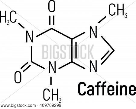 Caffeine Concept Chemical Formula Icon Label, Text Font Vector Illustration, Isolated On White. Peri