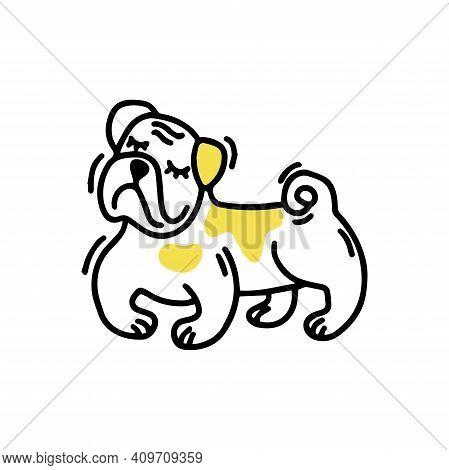 Satisfied English Bulldog. Cute Dog. Doodle Icon. Vector Illustration Of A Dog. Editable Element.