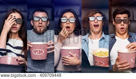 Shocked Millennial People In Cinema Watching Movies Wearing 3d Glasses And Eating Popcorn. Diverse A