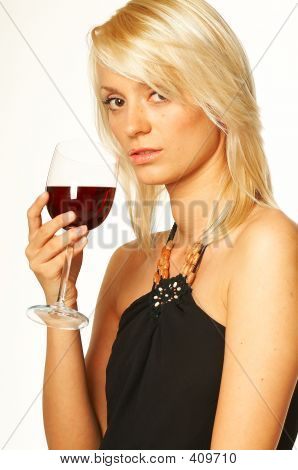 blond girl with glass of wine close up poster