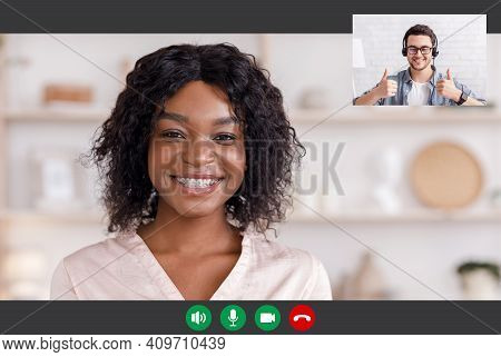 Communication Via Virtual Application. Portrait Pc Screen View Of Young Black Woman In Braces Making