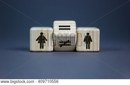 Symbol For Gender Equality. Turned A Cube And Changed A Unequal Sign To A Equal Sign Between Symbols