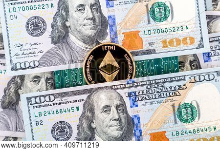 Digital Cryptocurrency Ethereum, Electronic Computer Component And American Dollars. Business Concep