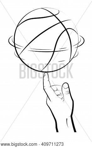 Man Hand Of Athlete Spins Basketball Ball On Index Finger. Team Sports. Tricks. Active Lifestyle. Bl