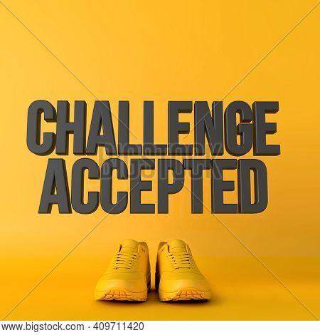 Challenge Accepted Motivational Workout Fitness Phrase, 3d Rendering
