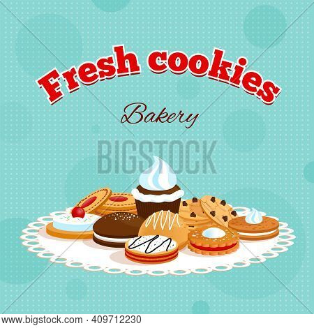 Bakery Retro Poster With Fresh Cookies Lettering And Different Desserts On Table Napkin Vector Illus