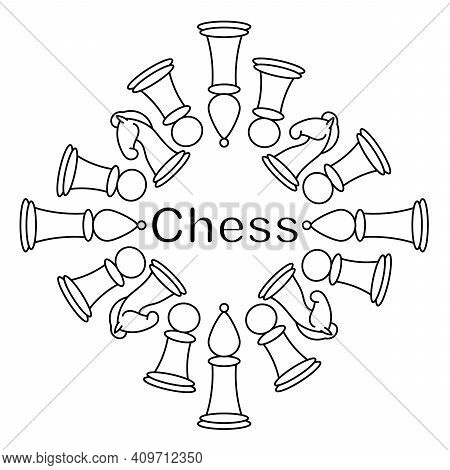 Vector Illustration With Chess Pieces. Coloring Pages Or Logo With Chess King, Queen, Rook, Bishop,