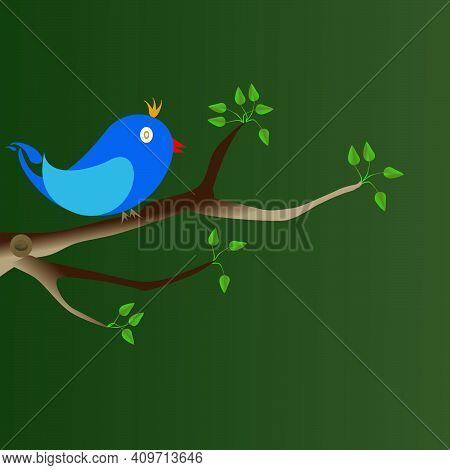 A Blue Bird Perched On A Tree Branch.