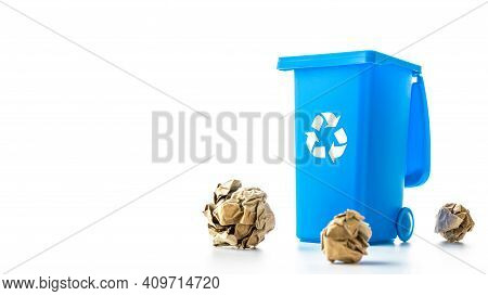 Recycle Garbage. Blue Dustbin For Recycle Paper Trash Isolated On White Background. Bin Container Fo
