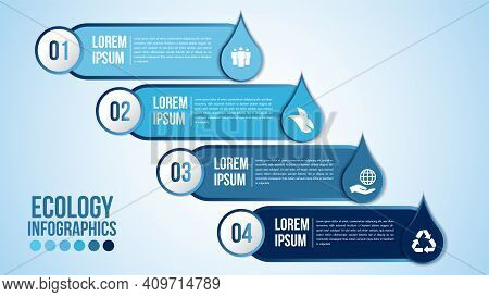 Infographic Eco Water Blue Design Elements Process 4 Steps Or Options Parts With Drop Of Water. Ecol