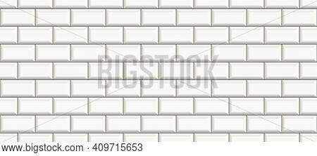 Subway Tile Background. White Brick Seamless Patter For Kitchen Backsplash, Bathroom Wall, Shower. C