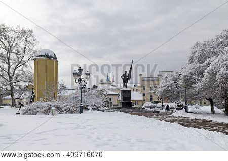 Sofia, Bulgaria - January 27, 2021: Winter Scene With The Monument Of The Bulgarian Volunteerand And