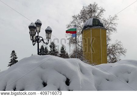 Sofia, Bulgaria - January 27, 2021: Winter Scene With  The Main Astronomical Point Of The State Tria