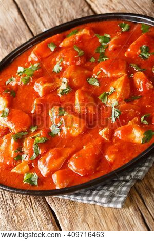 Ostropel Is A Typical Romanian Stew Made From Chicken Mixed With A Thick Tomato Sauce Closeup In The