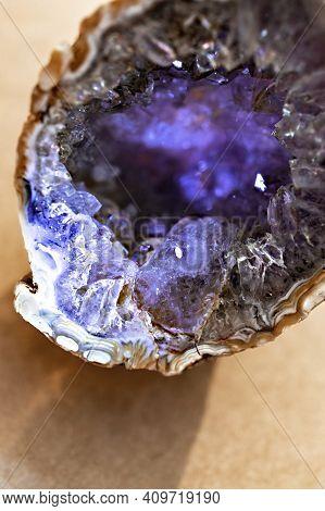 Druse Amethyst Close Up. Purple Crystals Of Amethyst Stone, Mineralogy, Quartz, Gem Stone, Semi Prec
