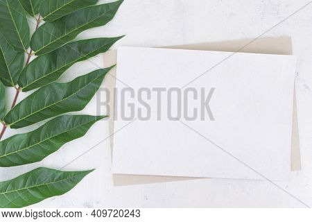 Mockup For Greeting Cards, Invitation Cards, Business Card, Thank You Card Of White And Dark Cardboa