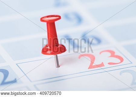 Calendar And Marked The Date The Red Pushpin
