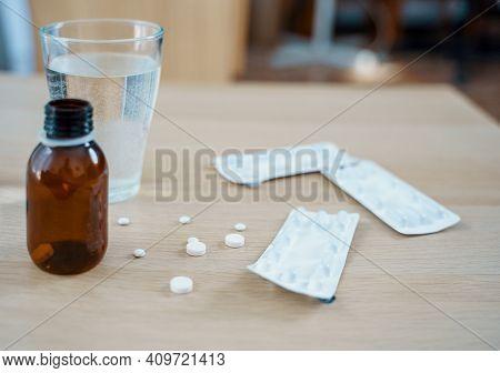 Medicine Pills Treatment Sparse On A Table