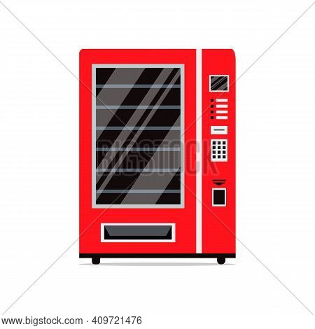 Red Vending Machine Isolated On White Background. Empty Vending Machine. Snacks And Drinks Concept.