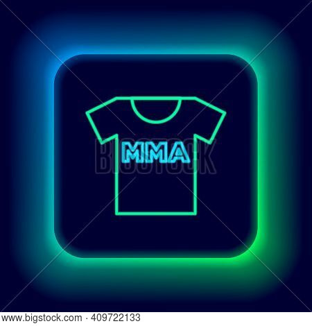 Glowing Neon Line T-shirt With Fight Club Mma Icon Isolated On Black Background. Mixed Martial Arts.