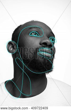 Art Portrait Of Young Man, Fashion Model With Abstract Geometrical Drawings By Modern One Line Style