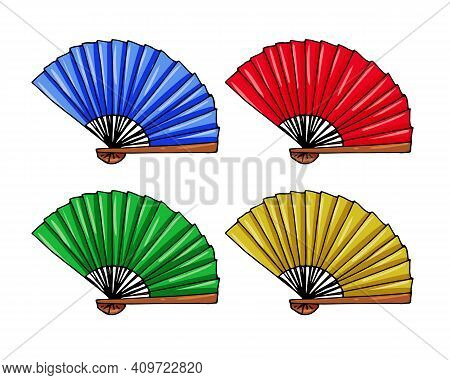 Vector Set Of Multicolored Monochrome Asian Fans Isolated On A White Background.