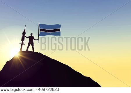 Botswana Vaccine. Silhouette Of Person With Flag And Syringe. 3d Rendering